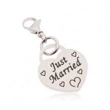 Kulcstartó, sebészeti acél, szív Just Married felirattal