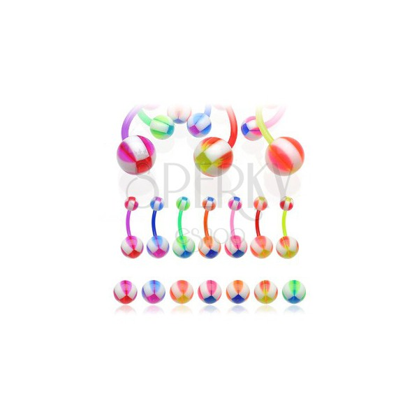 Köldök piercing - multicolor ball