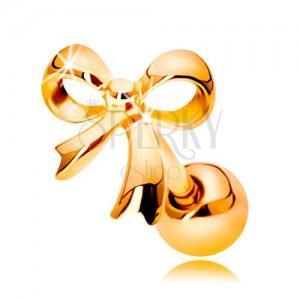 Fülpiercing sárga 14K aranyból - fényes kötött masni