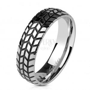 Acél gyűrű ezüst színben, strukturált gumiabroncs lenyomata, 6 mm