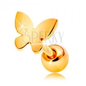 585 arany fülpiercing - kis lapos lepke fényes felülettel