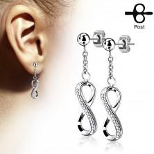 Sebészeti acél fülbevaló, fényes végtelen szimbólum cirkóniákkal díszítve