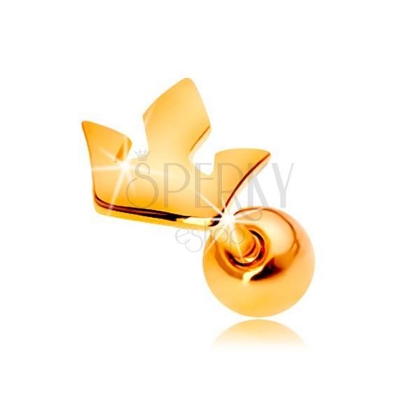 Fülpiercing sárga 14K aranyból - kis háromágú korona
