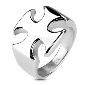Masszív gyűrű sebészeti acélból, sima fényes máltai kereszt