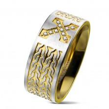 Sebészeti acél gyűrű, kereszt cirkóniákkal, lánc minta, 9 mm