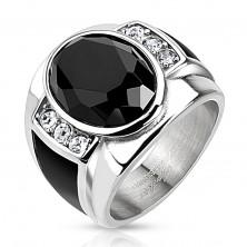 Acél gyűrű fekete csiszolt oválissal, átlátszó cirkóniákkal és fekete sávokkal