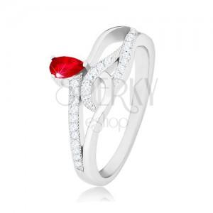 925 ezüst gyűrű, piros könnycsepp alakú cirkónia, hullámos cirkóniás vonalak