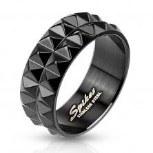 Gyűrű fekete sebészeti acélból csiszolt felülettel, 8 mm