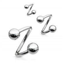 Spirál szemöldök piercing golyókkal 1,6 mm