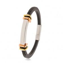 Fekete gumi karkötő, sima acél tábla, arany és réz színű négyzetek