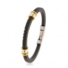Fekete gumi karkötő bemetszésekkel, acél gyöngyök ezüst és arany színben