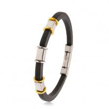 Fekete gumi karkötő bemetszésekkel, ezüst és arany színű acél díszek