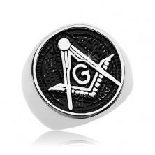 Sebészeti acél gyűrű, szabadkőműves szimbólum patinás körben