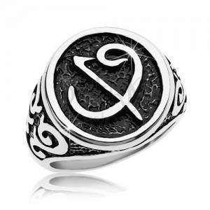 Sebészeti acél gyűrű - fekete pecsét szimbólummal, minták a szárakon