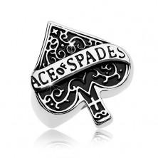 Masszív gyűrű 316L acélból, patinás pikk ász szimbólum, felirat