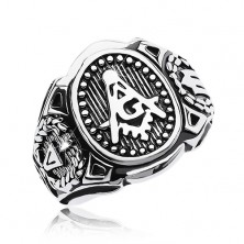 Sebészeti acél gyűrű, nagy ovális és szabadkőműves szimbólumok