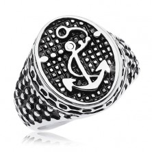 316L acél gyűrű, patinás ovális horgonnyal és apró pontokkal