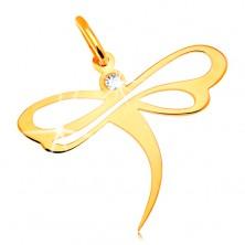 Medál sárga 14K aranyból - szitakötő beültetett cirkóniával és kivágásokkal a szárnyakon