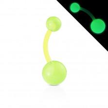 Bioflex köldökpiercing – golyók kicsi buborékokkal, világít a sötétben