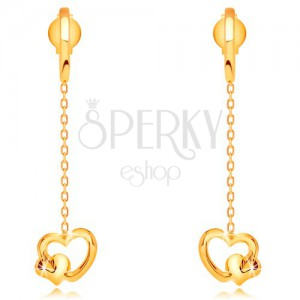 Fülbevaló sárga 14K aranyból - láncon függő szívek, stekkerek
