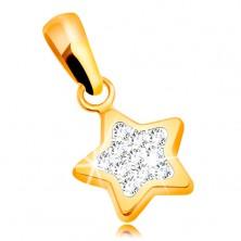 Medál sárga 585 aranyból - csillogó ötágú csillag, átlátszó cirkóniák