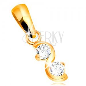 585 arany medál - fényes sima hullám, két átlátszó csillogó cirkónia