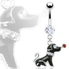 Köldökpiercing - fekete kutyus, cirkóniák