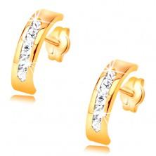 Fülbevaló sárga 14K aranyból - átlátszó cirkóniák vonalával díszített ív