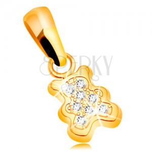 Medál sárga 585 aranyból - kis medve átlátszó cirkóniákkal díszítve