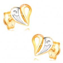 Briliáns fülbevaló sárga és fehér 14K aranyból - szív kivágásokkal és gyémánttal