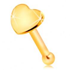 Egyenes orrpiercing sárga 14K aranyból - kis fényes szív