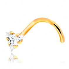 Hajlított orrpiercing - sárga 14K arany, átlátszó cirkóniás háromszög