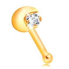 Egyenes orrpiercing sárga 14K aranyból, félhold, átlátszó cirkónia