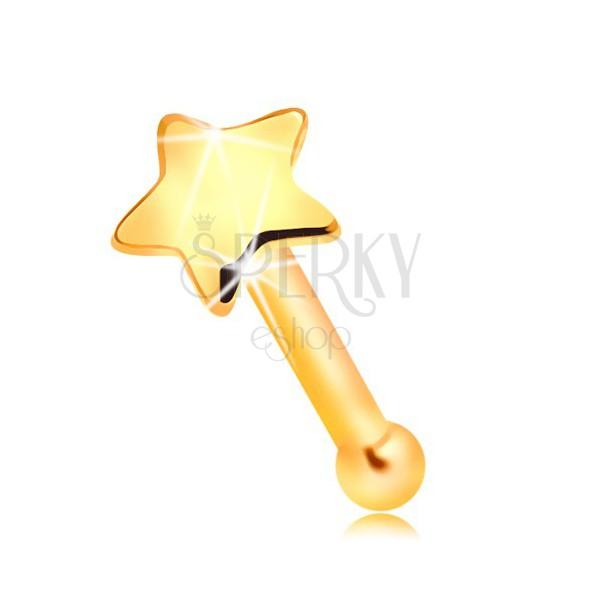 585 arany orrpiercing - kis fényes csillag, egyenes alak