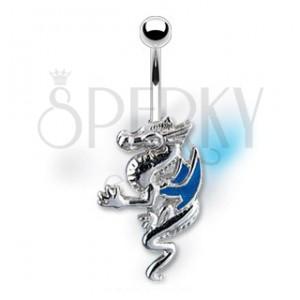 Köldök piercing - kék szárnyú sárkány