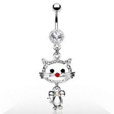 Köldök piercing - cica