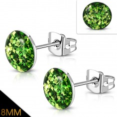 316L acél fülbevaló - csillogó zöld glitterek tiszta fénymázzal bevonva