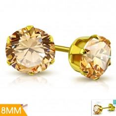 Sebészeti acél fülbevaló arany színben, halvány narancssárga cirkónia foglalatban, 8 mm