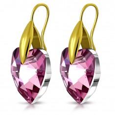 316L acél fülbevaló arany színben, lila cirkónia szív, horgok