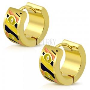 316L acél karika fülbevaló arany színben, különböző színű fénymázas részek