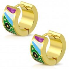 Arany színű fülbevaló bepattintós zárszerkezettel, fénymázas színes formákkal