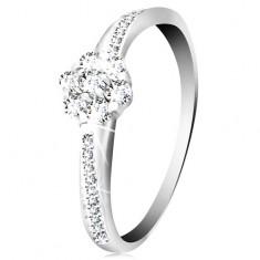 Gyűrű 14K fehér aranyból - fényes virág átlátszó cirkóniákból, díszített szárak