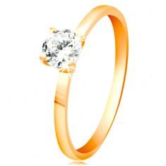 Sárga 14K arany gyűrű - fényes átlátszó cirkónia kiemelt foglalatban