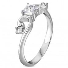 Gyűrű ezüst színű 316L acélból, cirkóniás négyzet, tekert szárak