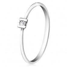 Briliáns gyűrű 585 fehéraranyból - fényes átlátszó gyémánt karmos foglalatban