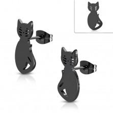 Fekete sebészeti acél fülbevaló, cica kivágásokkal