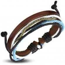 Karkötő műbőrből és zsinórból, keskeny barna műbőr sáv, színes zsinórok