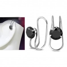 Hamis 316L acél piercing fülbe, ezüst szín, fekete cirkónia
