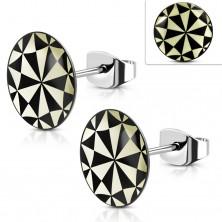 Sebészeti acél fülbevaló, akril kör sárga - fekete geometriai alakzatokkal