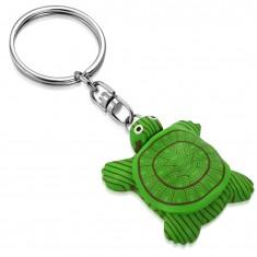 Kulcstartó - zöld FIMO teknős fekete - fehér szemekkel, mágnes